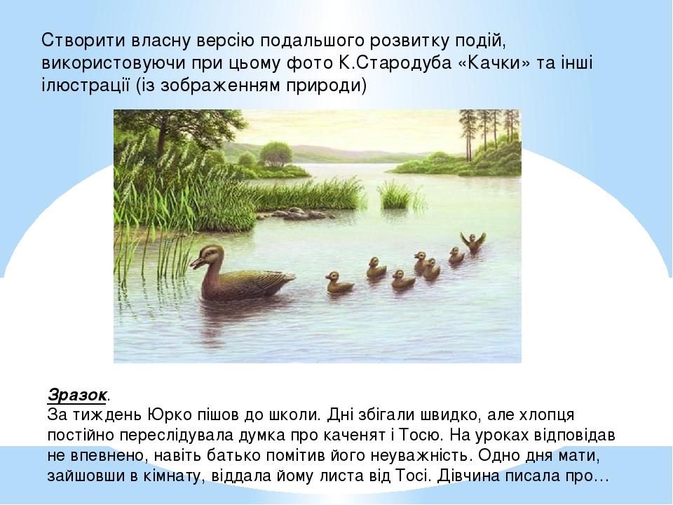 Створити власну версію подальшого розвитку подій, використовуючи при цьому фото К.Стародуба «Качки» та інші ілюстрації (із зображенням природи) Зра...