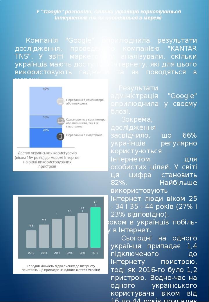 """У """"Google"""" розповіли, скільки українців користуються Інтернетом та як поводяться в мережі Компанія """"Google"""" оприлюднила результати дослідження, про..."""