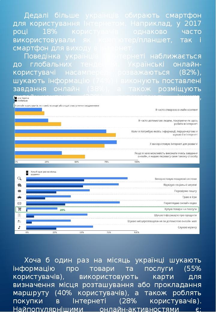 Дедалі більше українців обирають смартфон для користування Інтернетом. Наприклад, у 2017 році 18% користувачів однаково часто використовували як ко...