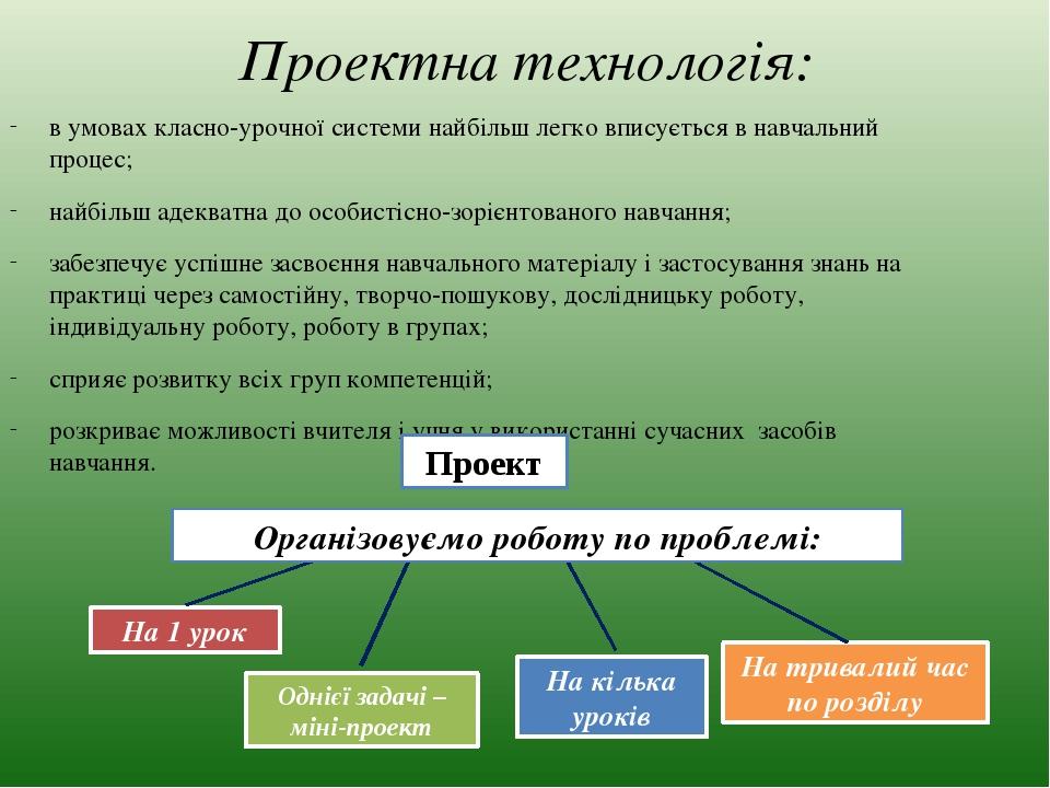 Проектна технологія: в умовах класно-урочної системи найбільш легко вписується в навчальний процес; найбільш адекватна до особистісно-зорієнтованог...