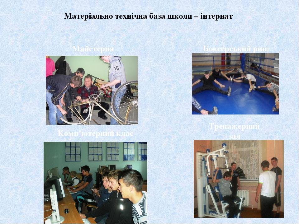 Матеріально технічна база школи – інтернат Тренажерний зал Комп'ютерний клас Майстерня Боксерський ринг