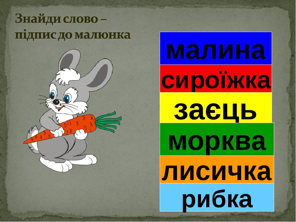 малина сироїжка заєць морква лисичка рибка