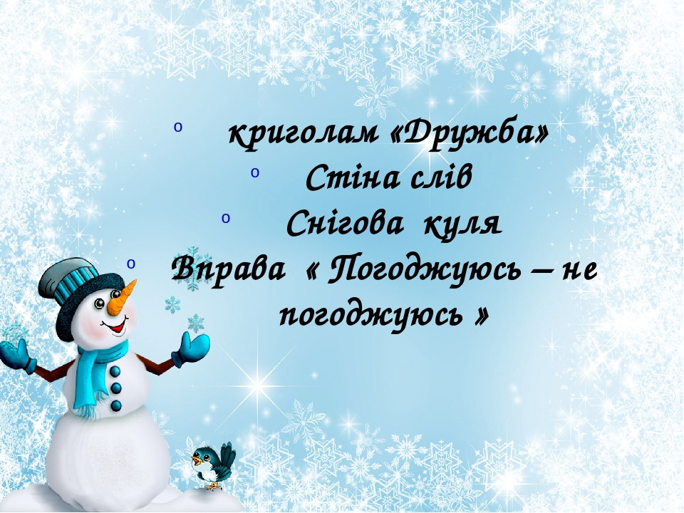 криголам «Дружба» Стіна слів Снігова куля Вправа « Погоджуюсь – не погоджуюсь »
