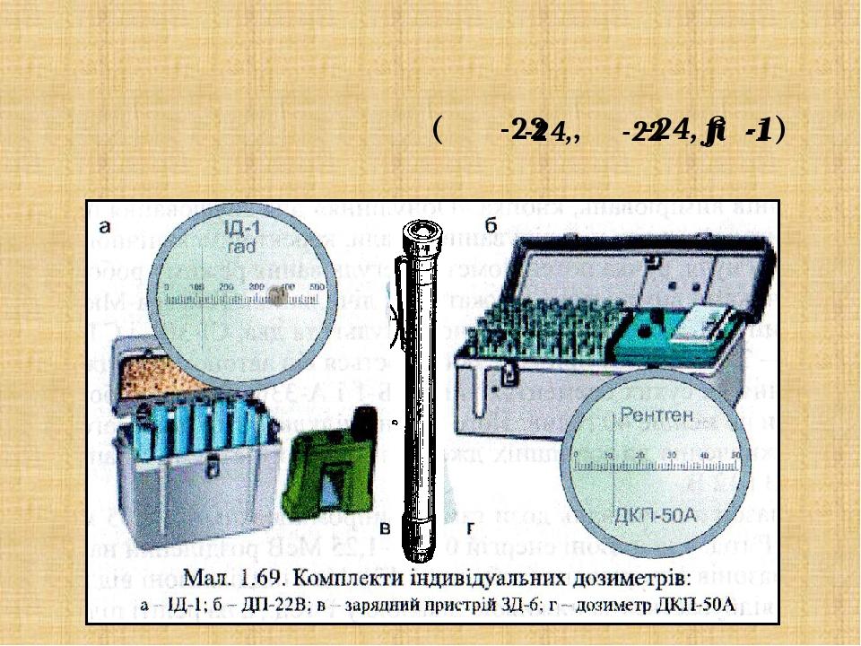 Прилади контролю радіоактивного опромінення (ДП-22В, ДП-24, ІД-1) Комплекти дозиметрів ДП-24,ДП-22В і ІД-1 призначені для вимірювання індивідуальни...
