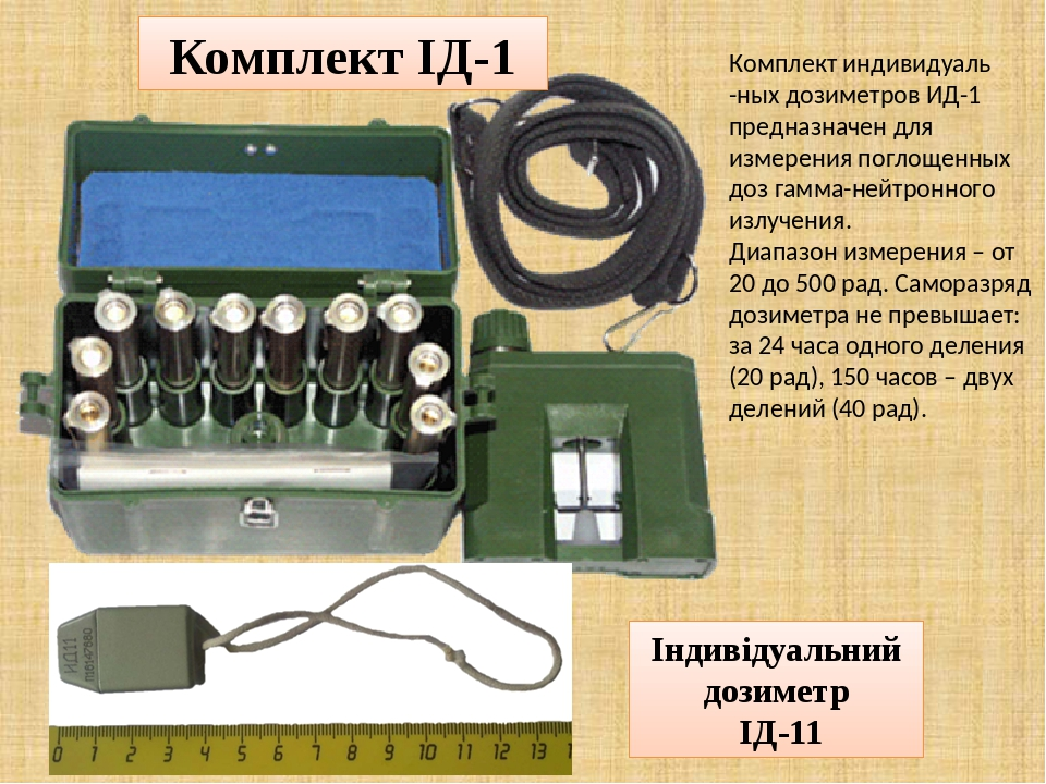 Комплект ІД-1 Індивідуальний дозиметр ІД-11 Комплект индивидуаль -ных дозиметров ИД-1 предназначен для измерения поглощенных доз гамма-нейтронного ...