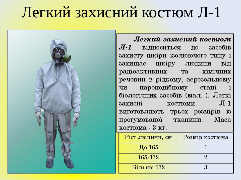 Легкий захисний костюм Л-1 відноситься до засобів захисту шкіри ізолюючого типу і захищає шкіру людини від радіоактивних та хімічних речовин в рідк...