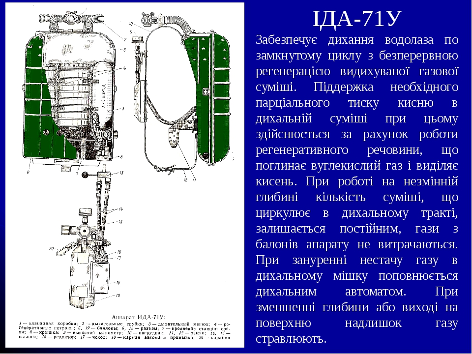 ІДА-71У Забезпечує дихання водолаза по замкнутому циклу з безперервною регенерацією видихуваної газової суміші. Піддержка необхідного парціального ...