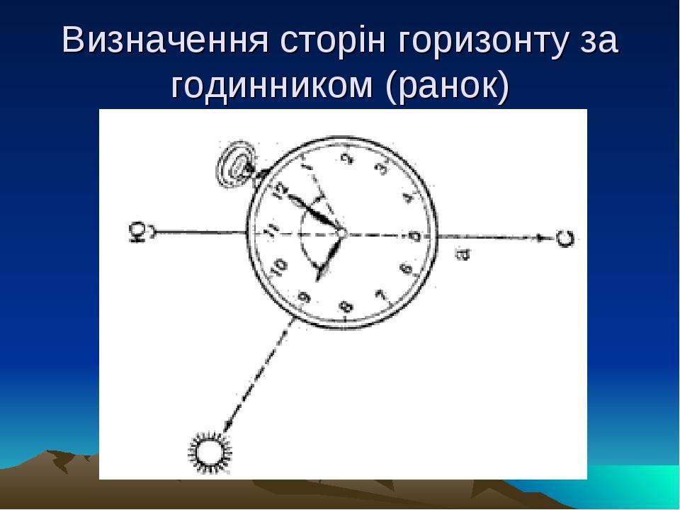 Визначення сторін горизонту за годинником (ранок)
