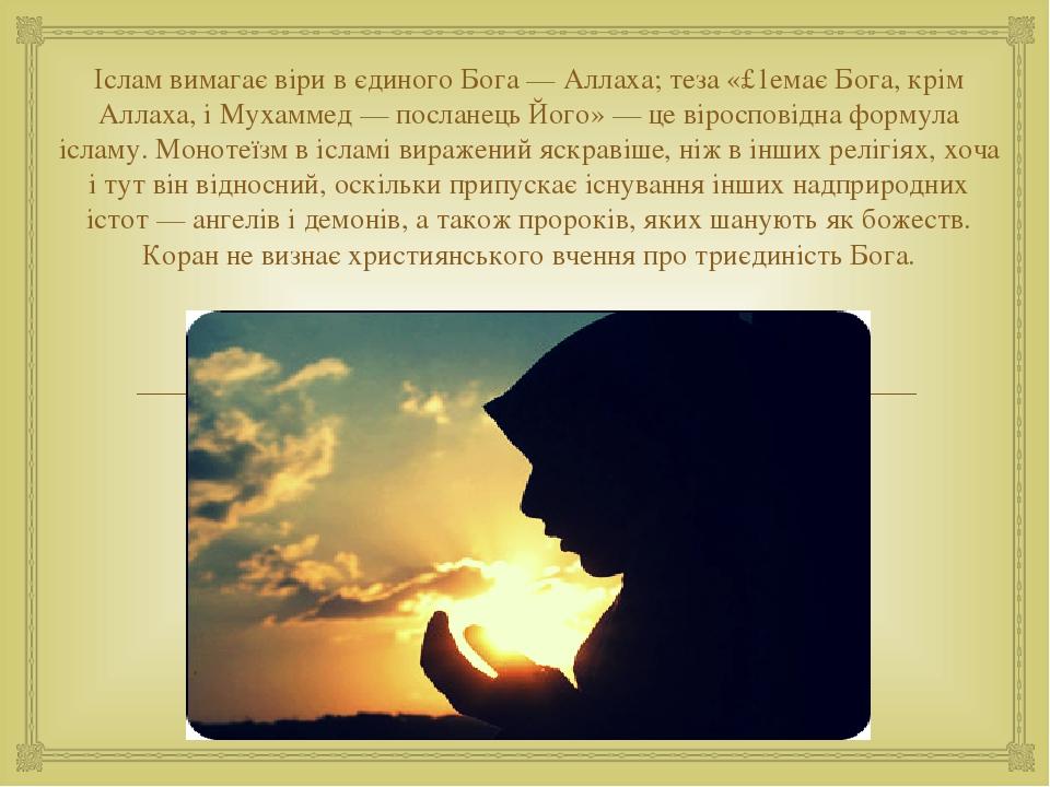 Іслам вимагає віри в єдиного Бога — Аллаха; теза «£1емає Бога, крім Аллаха, і Мухаммед — посланець Його» — це віросповідна формула ісламу. Монотеїз...