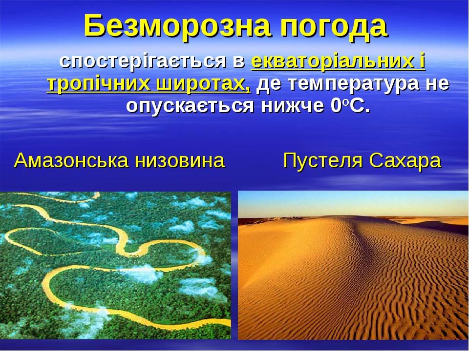 Безморозна погода cпостерігається в екваторіальних і тропічних широтах, де температура не опускається нижче 0оC. Амазонська низовина Пустеля Сахара