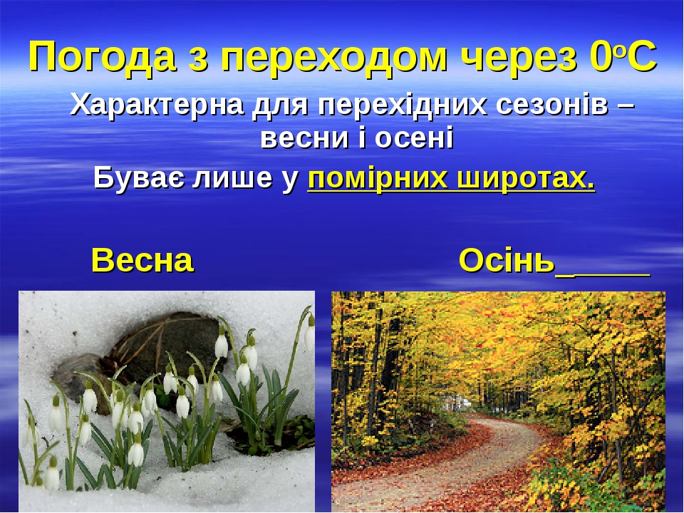 Погода з переходом через 0оC Характерна для перехідних сезонів – весни і осені Буває лише у помірних широтах. Весна Осінь