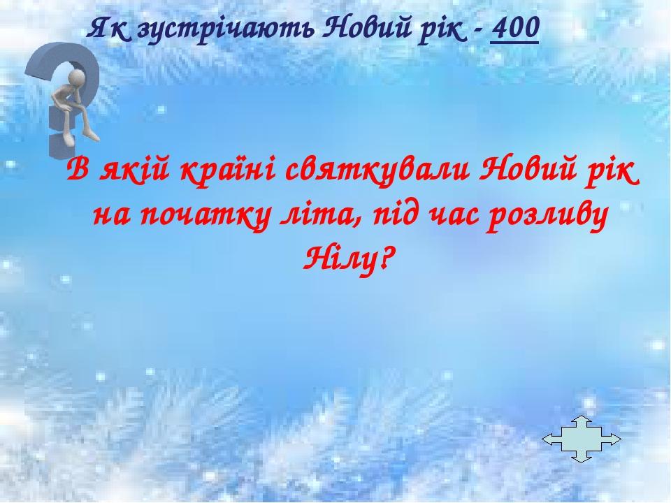 Як зустрічають Новий рік - 400 В якій країні святкували Новий рік на початку літа, під час розливу Нілу?
