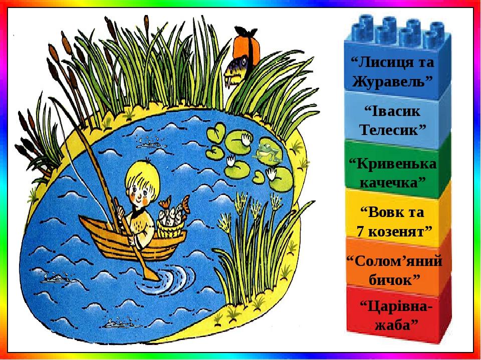 """""""Вовк та 7 козенят"""" """"Івасик Телесик"""" """"Кривенька качечка"""" """"Лисиця та Журавель"""" """"Солом'яний бичок"""" """"Царівна- жаба"""""""