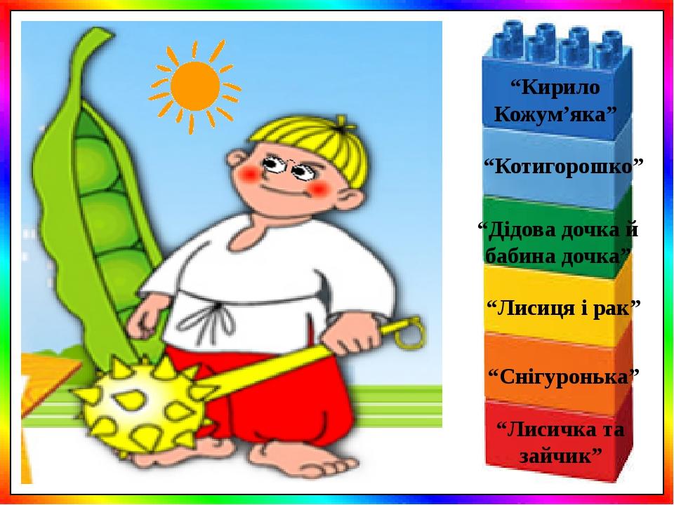 """""""Лисиця і рак"""" """"Котигорошко"""" """"Дідова дочка й бабина дочка"""" """"Кирило Кожум'яка"""" """"Снігуронька"""" """"Лисичка та зайчик"""""""