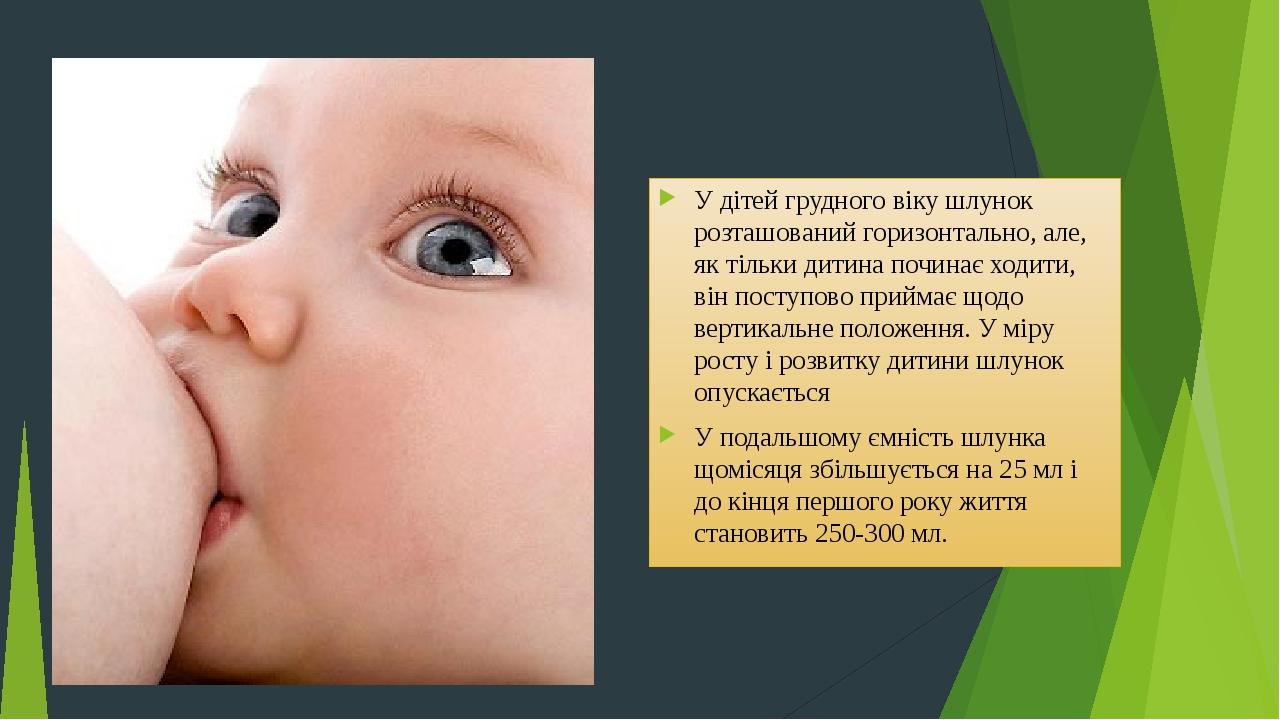 У дітей грудного віку шлунок розташований горизонтально, але, як тільки дитина починає ходити, він поступово приймає щодо вертикальне положення. У ...
