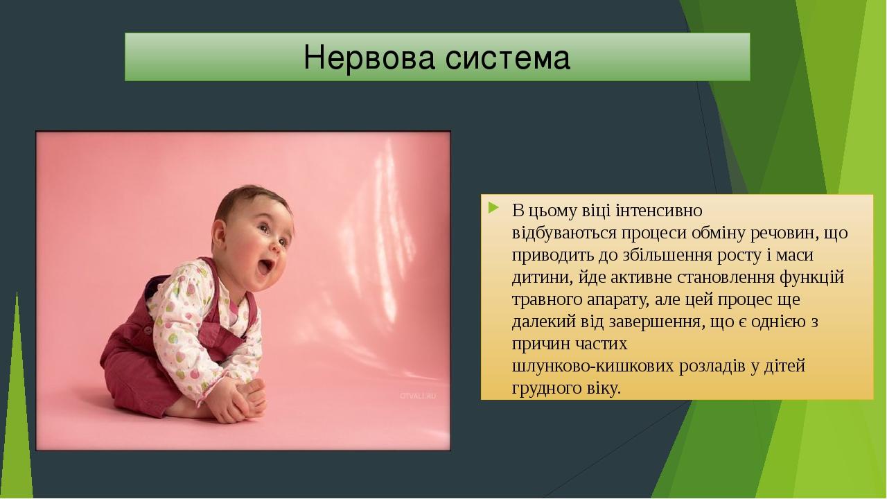 Нервова система В цьому віці інтенсивно відбуваються процеси обміну речовин, що приводить до збільшення росту і маси дитини, йде активне становленн...