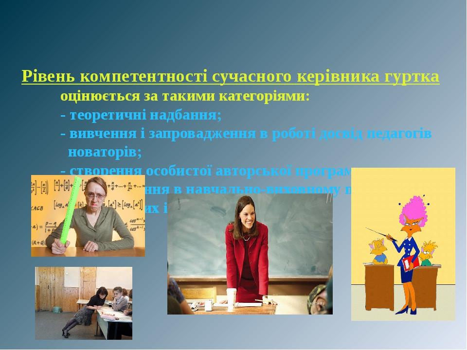 Рівень компетентності сучасного керівника гуртка оцінюється за такими категоріями: - теоретичні надбання; - вивчення і запровадження в роботі досві...