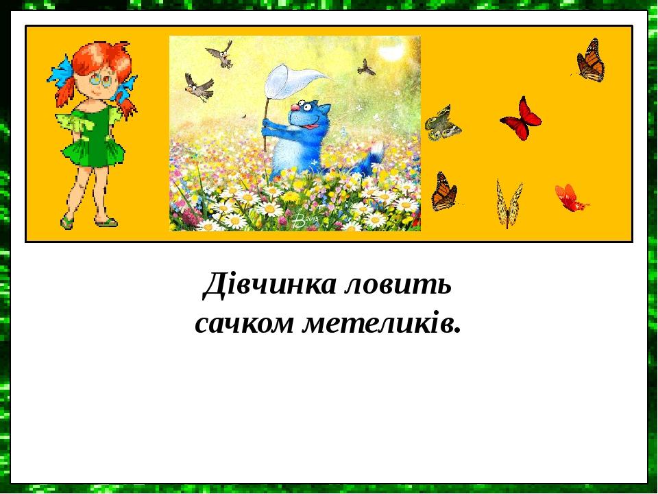 Дівчинка ловить сачком метеликів.