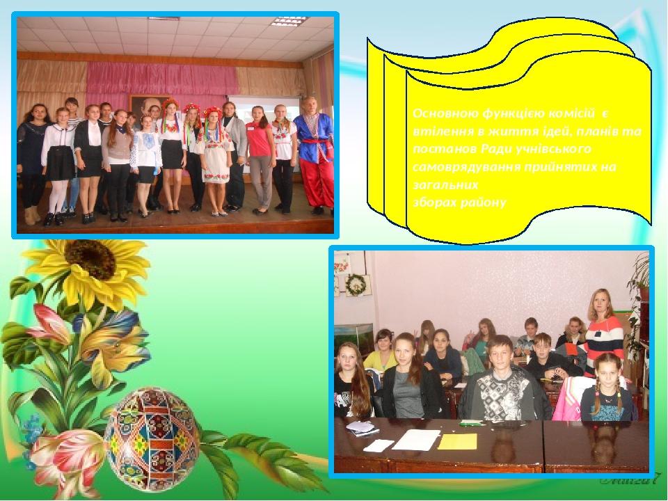 Основною функцією комісій є втілення в життя ідей, планів та постанов Ради учнівського самоврядування прийнятих на загальних зборах району