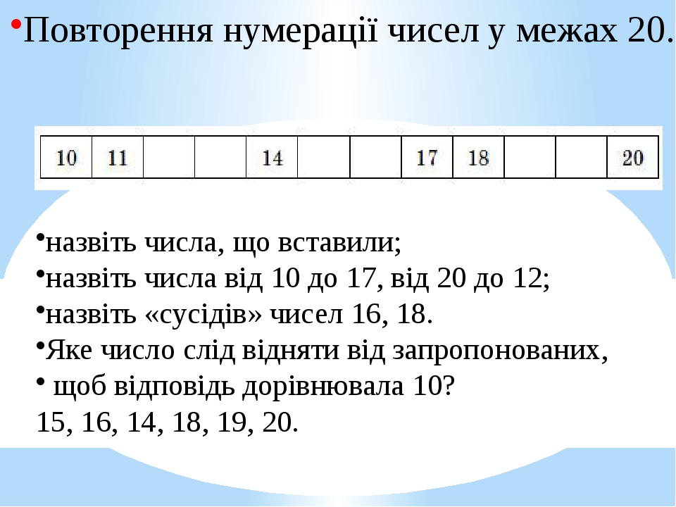 Повторення нумерації чисел у межах 20. назвіть числа, що вставили; назвіть числа від 10 до 17, від 20 до 12; назвіть «сусідів» чисел 16, 18. Яке чи...