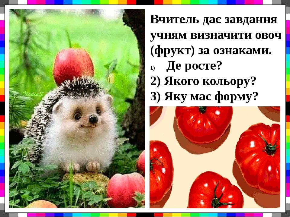 Вчитель дає завдання учням визначити овоч (фрукт) за ознаками. Де росте? 2) Якого кольору? 3) Яку має форму?