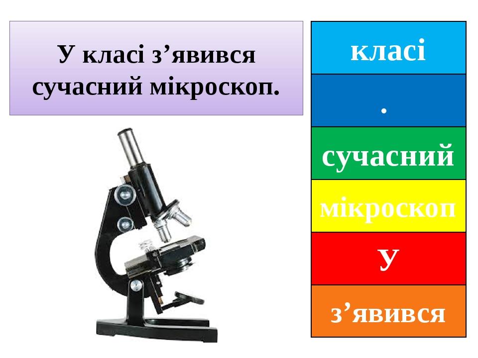 класі . сучасний мікроскоп У з'явився У класі з'явився сучасний мікроскоп.