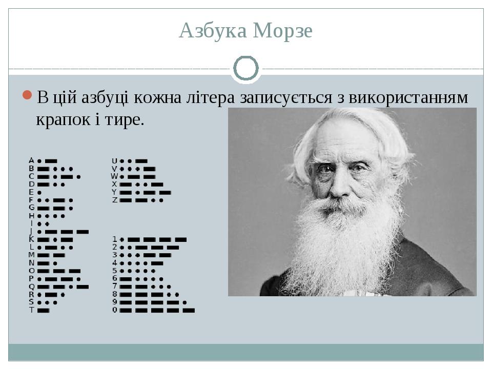 Азбука Морзе В цій азбуці кожна літера записується з використанням крапок і тире.