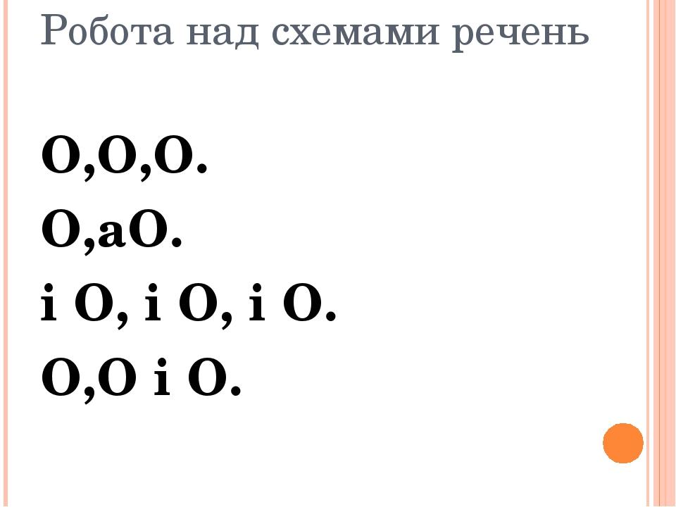 Робота над схемами речень О,О,О. О,аО. і О, і О, і О. О,О і О.