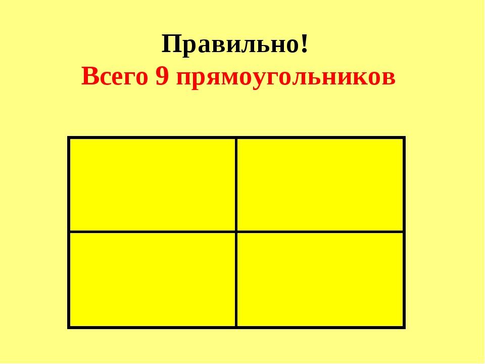 Правильно! Всего 9 прямоугольников
