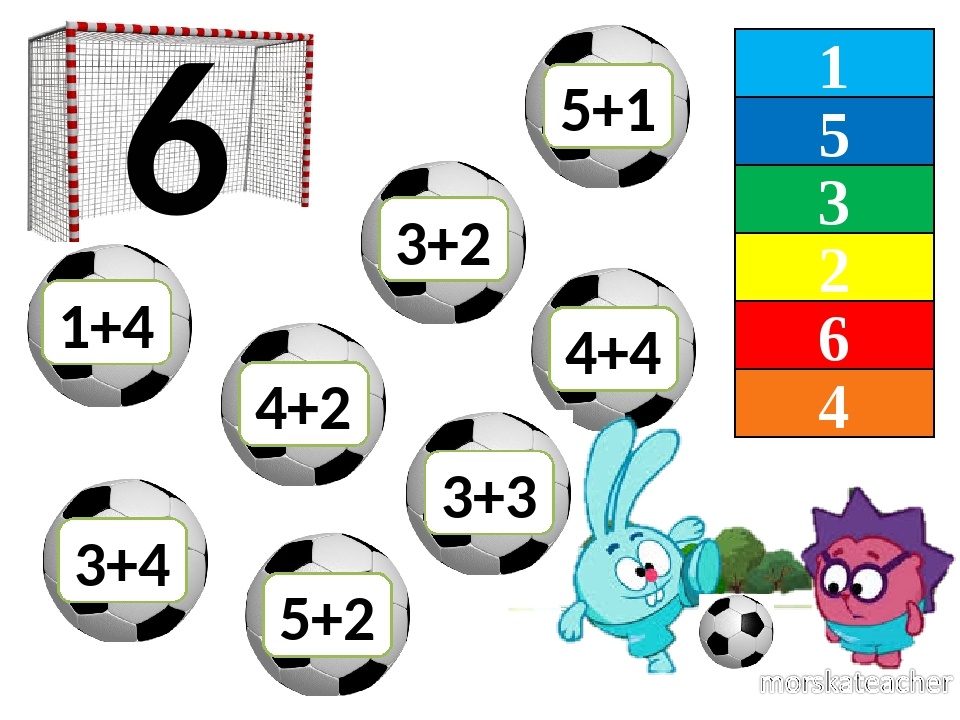 1 5 3 2 6 4 6 1+4 5+2 4+4 4+2 3+2 3+4 3+3 5+1