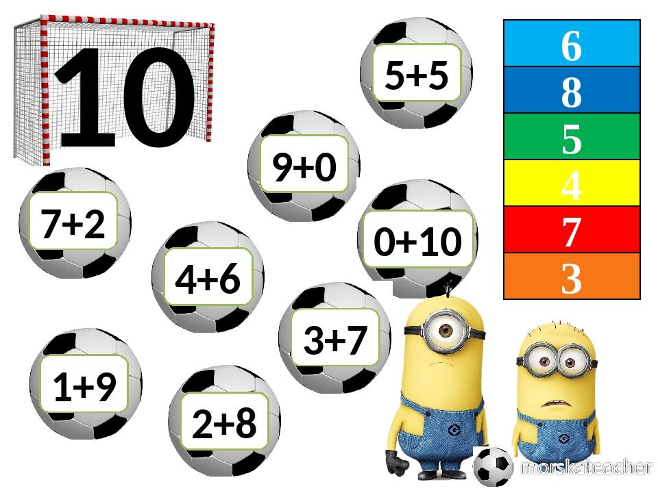 6 8 5 4 7 3 10 7+2 2+8 0+10 4+6 9+0 1+9 3+7 5+5