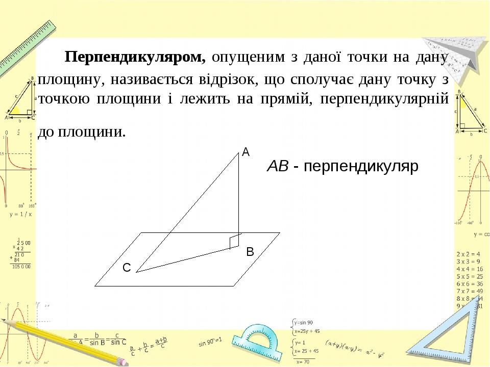 Перпендикуляром, опущеним з даної точки на дану площину, називається відрізок, що сполучає дану точку з точкою площини і лежить на прямій, перпенди...