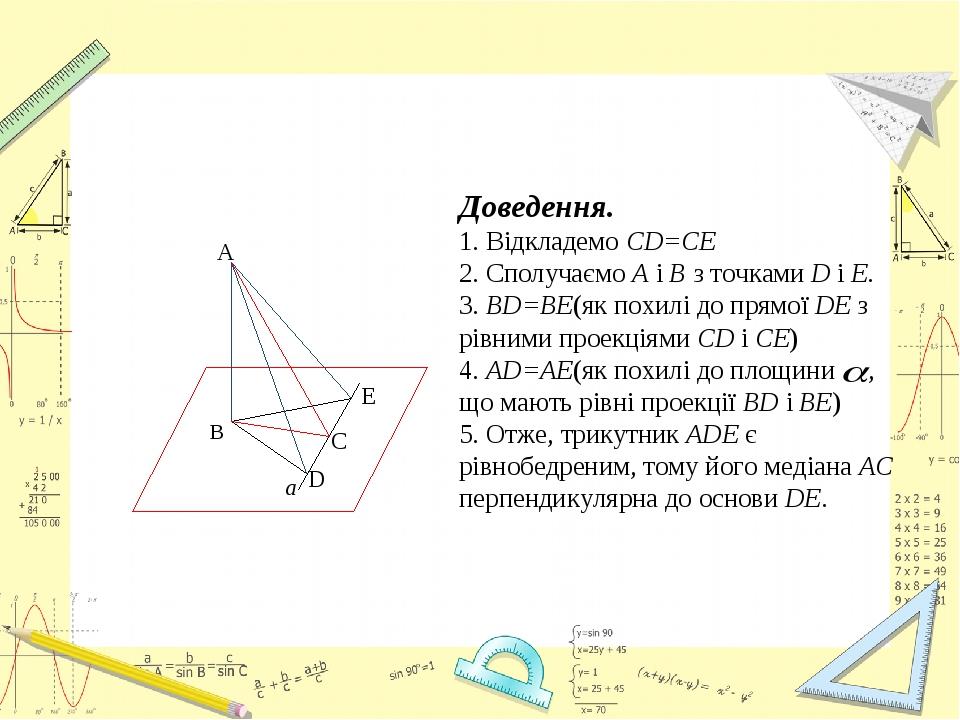 Доведення. 1. Відкладемо CD=CE 2. Сполучаємо А і В з точками D і Е. 3. BD=BE(як похилі до прямої DE з рівними проекціями CD і СЕ) 4. AD=AE(як похил...