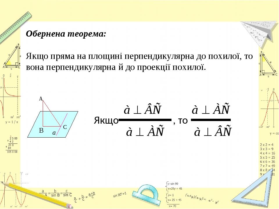 Обернена теорема: Якщо пряма на площині перпендикулярна до похилої, то вона перпендикулярна й до проекції похилої. Якщо , то