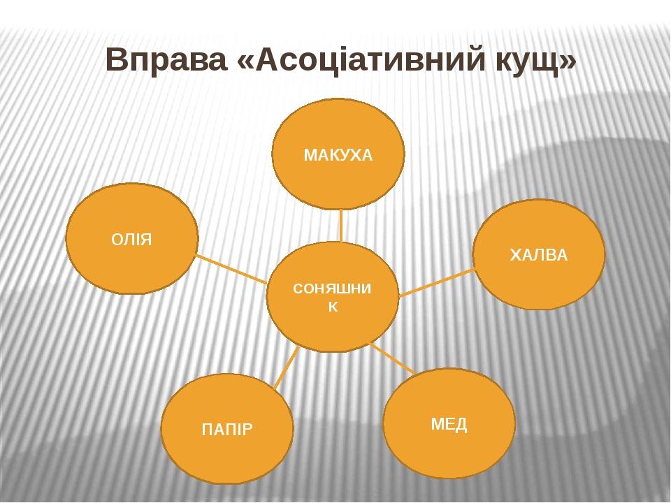 Вправа «Асоціативний кущ» СОНЯШНИК ПАПІР МЕД МАКУХА ОЛІЯ ХАЛВА