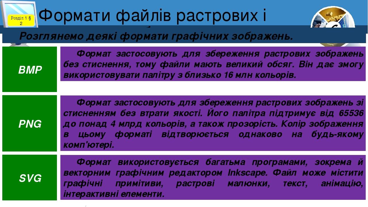6 Формати файлів растрових і векторних зображень Розділ 1 § 2 Розглянемо  деякі формати графічних зображень. d8109b6ddabb3