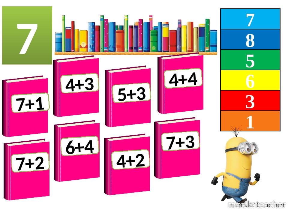 7 8 5 1 6 3 7 7+1 4+3 5+3 4+4 7+2 6+4 4+2 7+3