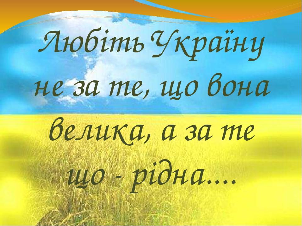 Любіть Україну не за те, що вона велика, а за те що - рідна....