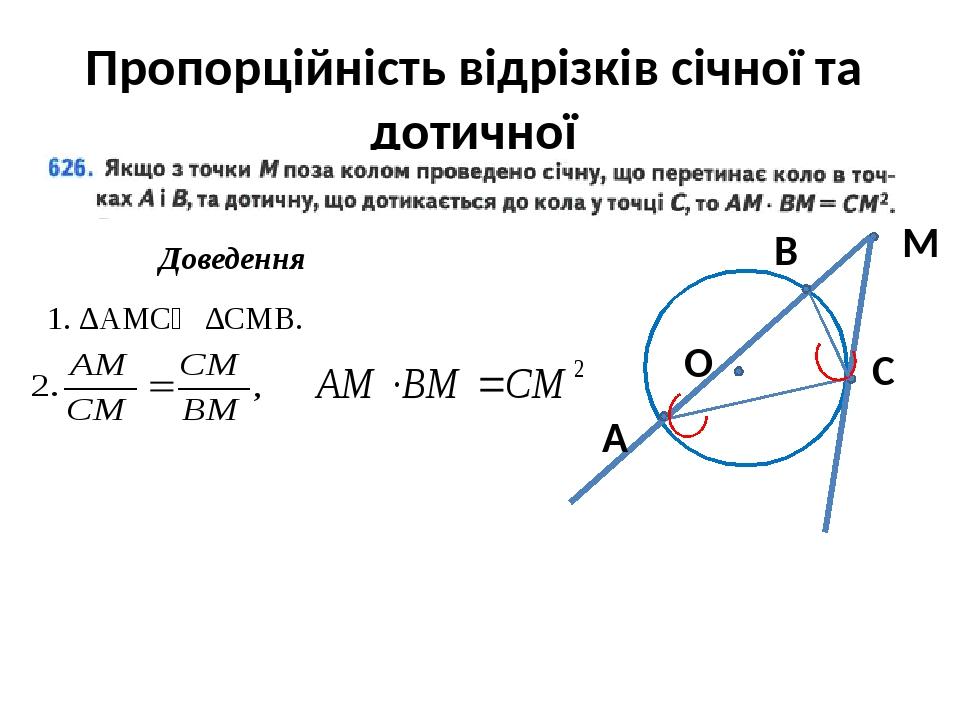 Пропорційність відрізків січної та дотичної М А В С Доведення 1. ∆AMС∾ ∆СMB. О