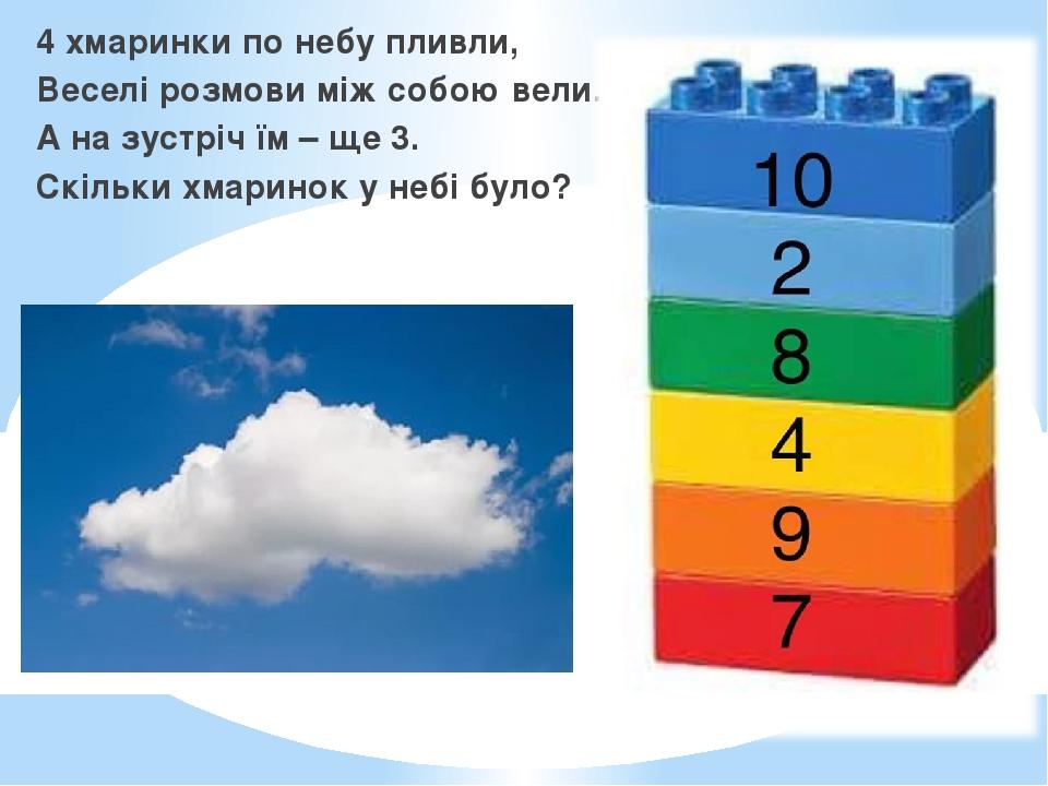4 хмаринки по небу пливли, Веселі розмови між собою вели. А на зустріч їм – ще 3. Скільки хмаринок у небі було?