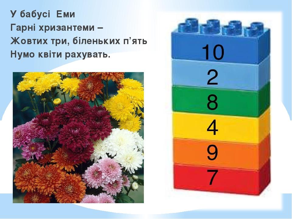 У бабусі Еми Гарні хризантеми – Жовтих три, біленьких п'ять Нумо квіти рахувать.