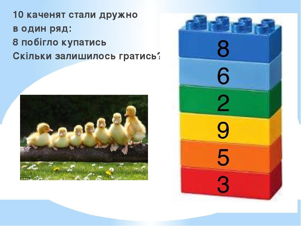 10 каченят стали дружно в один ряд: 8 побігло купатись Скільки залишилось гратись?