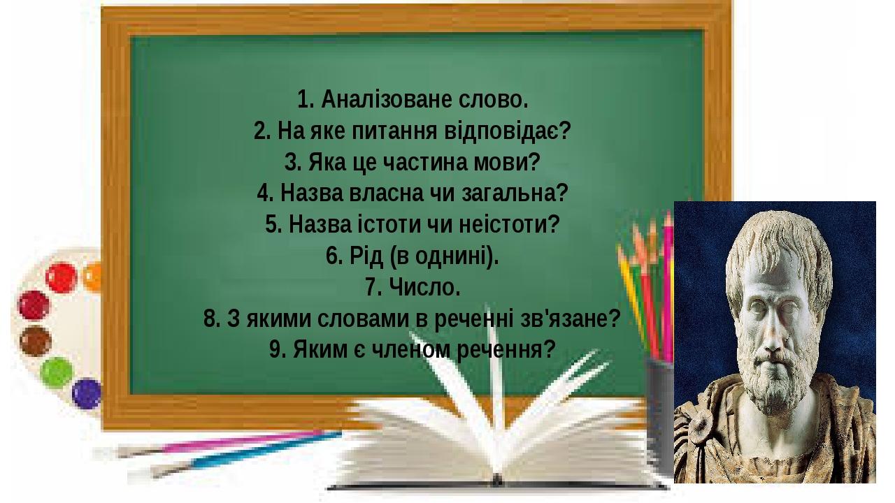 1. Аналізоване слово. 2. На яке питання відповідає? 3. Яка це частина мови? 4. Назва власна чи загальна? 5. Назва істоти чи неістоти? 6. Рід (в одн...