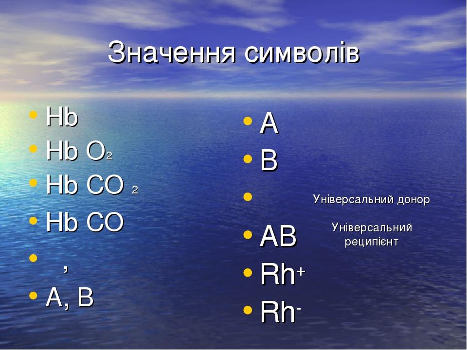 Значення символів Hb Hb O2 Hb CO 2 Hb CO α, β A, B Aβ Bα αβ AB Rh+ Rh- Універсальний донор Універсальний реципієнт