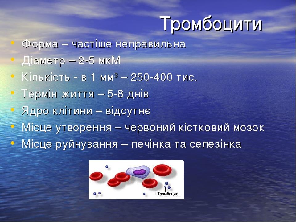 Тромбоцити Форма – частіше неправильна Діаметр – 2-5 мкМ Кількість - в 1 мм3 – 250-400 тис. Термін життя – 5-8 днів Ядро клітини – відсутнє Місце у...
