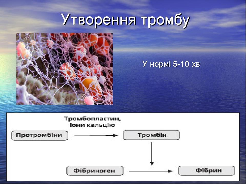Утворення тромбу У нормі 5-10 хв