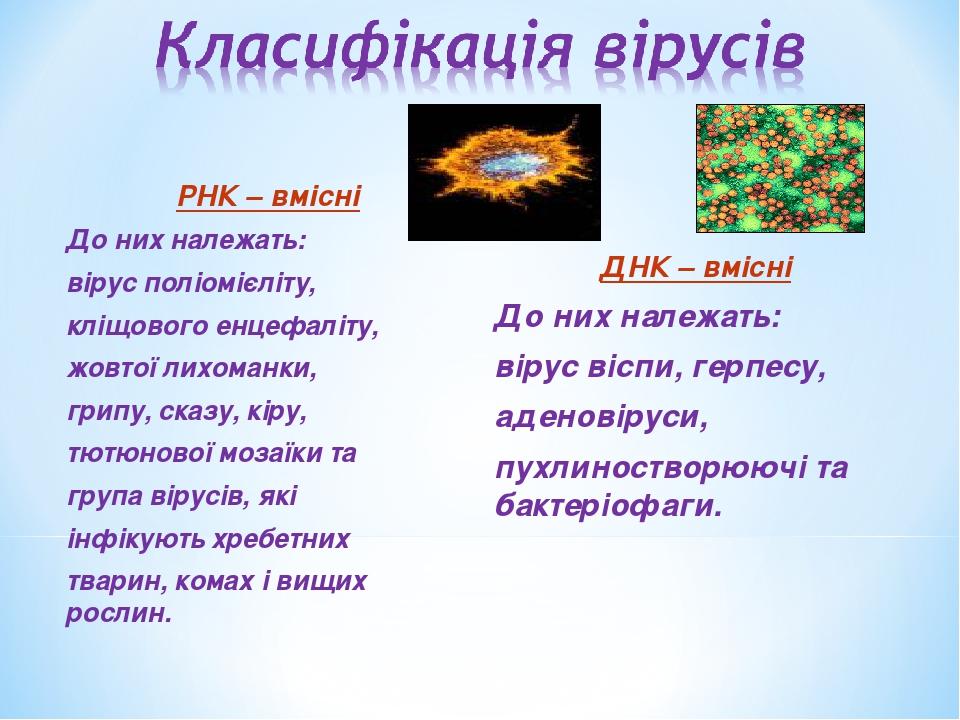 РНК – вмісні До них належать: вірус поліомієліту, кліщового енцефаліту, жовтої лихоманки, грипу, сказу, кіру, тютюнової мозаїки та група вірусів, я...