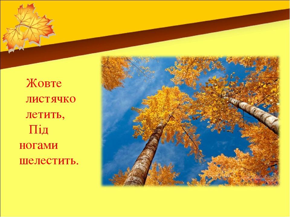 Жовте листячко летить, Під ногами шелестить.