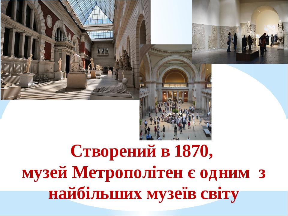 Створений в 1870, музей Метрополітен є одним з найбільших музеїв світу