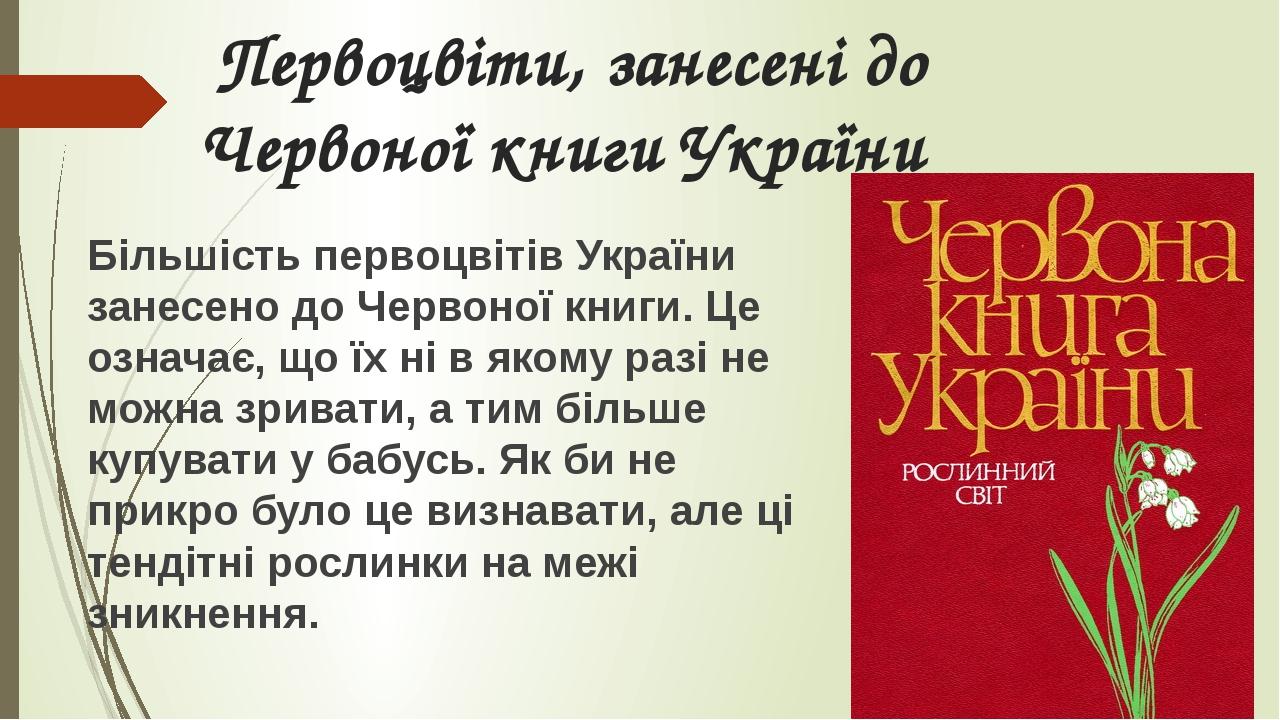 Первоцвіти, занесені до Червоної книги України Більшість первоцвітів України занесено до Червоної книги. Це означає, що їх ні в якому разі не можна...